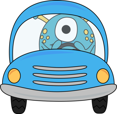 monster-driving-blue-car